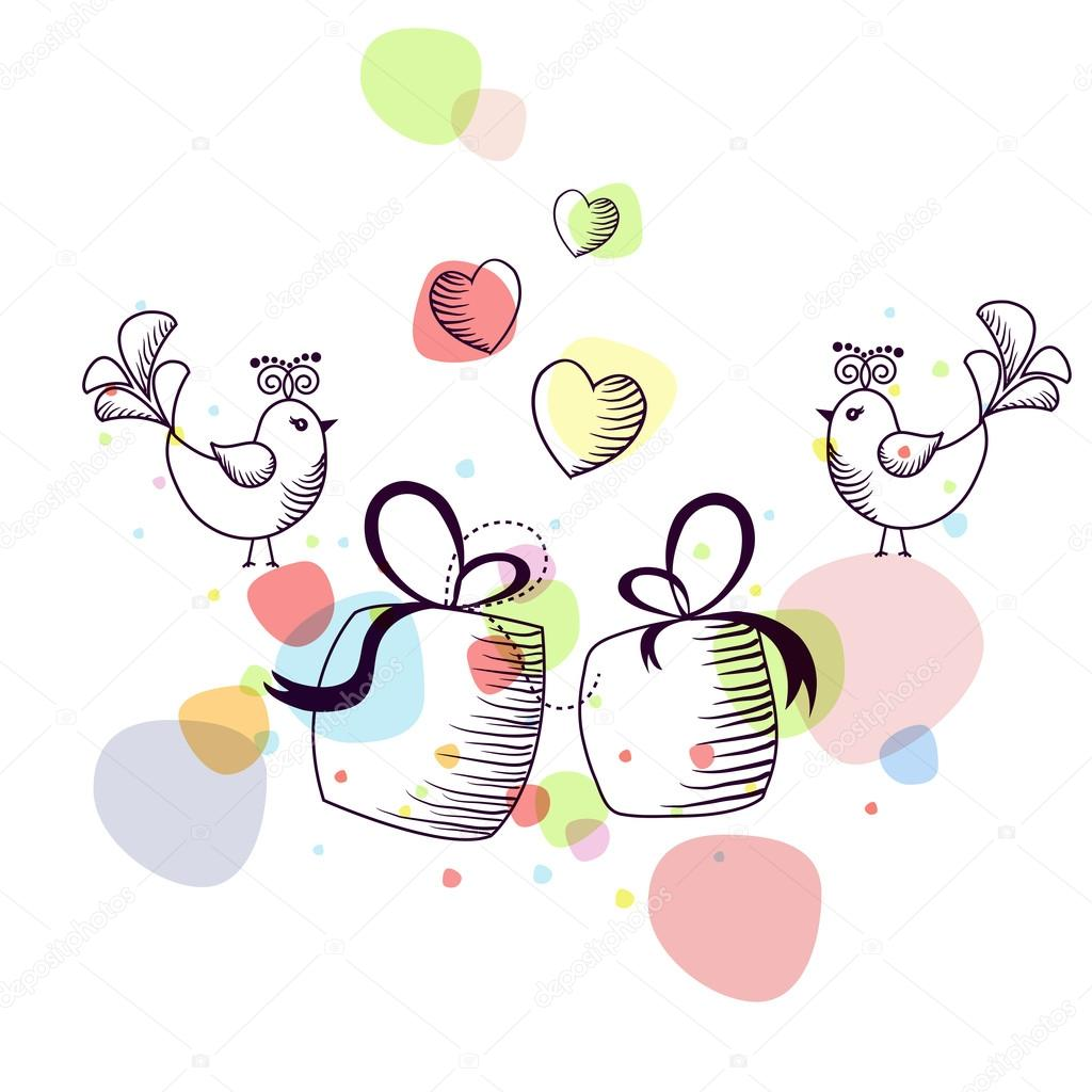 The outline of the birds with gifts on a white background  Stock Vector #18900365