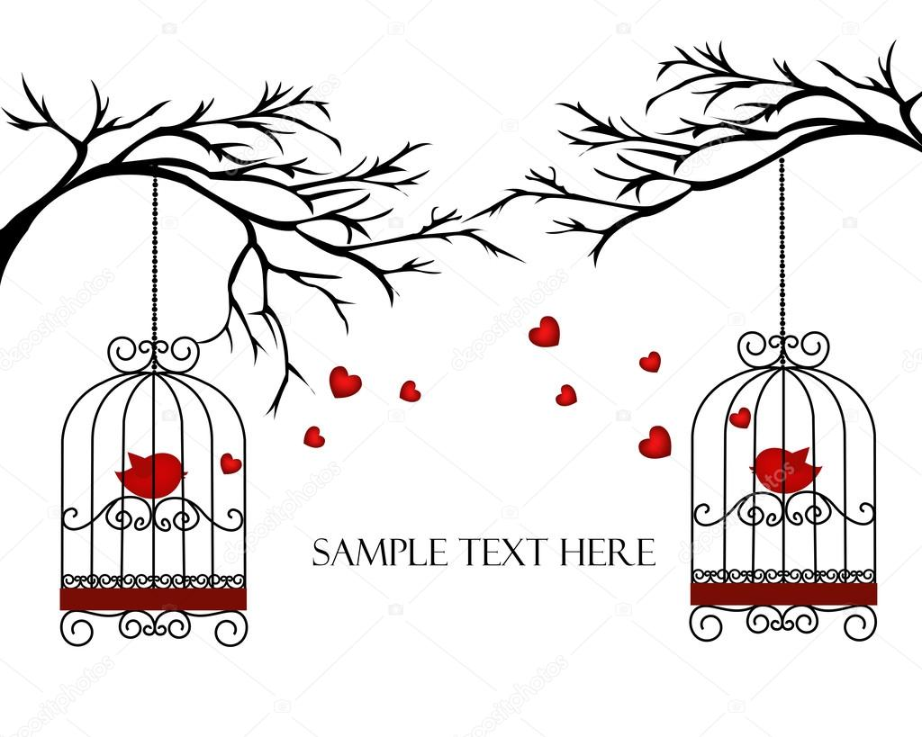 Two lovers birds in cages on the branches — Stock Vector #18900829