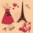 "Beautiful set of ""From Paris with Love"" — Stock Vector"