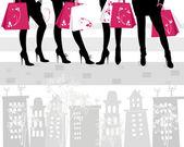 Beautiful girls on shopping — Stock Vector