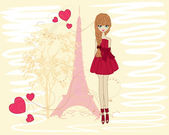 Beautiful girl on a walk through Paris — Stock Vector