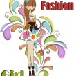 Stock Vector: Beautiful fashionable girl