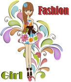 Beautiful fashionable girl — Stock Vector