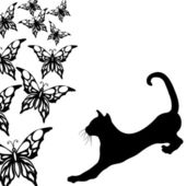 Black cat with butterflies on a white — Stock Vector