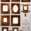 Stock Vector: Photo frames made of wood and leather
