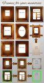 Photo frames made of wood and leather — Stock Vector