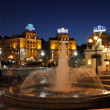 Stock Video: Beautiful fountain at night on Independence Square