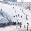 Winter mountain skiing hill in Vyshgorod — Stock Video #12819758