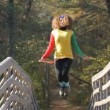 Girl with skipping rope — Stok Video #13850076