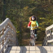 Girl goes by bicycle — Stock Video
