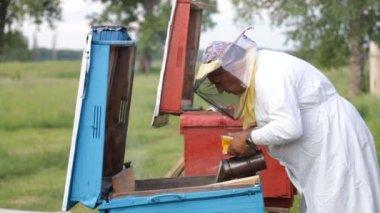 Biodlare arbetar — Stockvideo