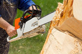 Man with chainsaw — Stock Photo