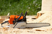 Orange chainsaw — Stock Photo