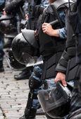Helmet on a police officer — Stock Photo