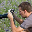 Stock Photo: Nature photographer at work