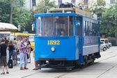 The retro a tram of 1892 goes in Kiev ,Ukraine . — Stock Photo