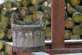 Bene e vecchio secchio in legno — Foto Stock