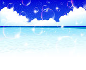 Bubbles sand summer sky background — Stock Vector