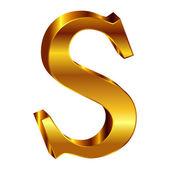 S alphabet gold emblem — ストックベクタ