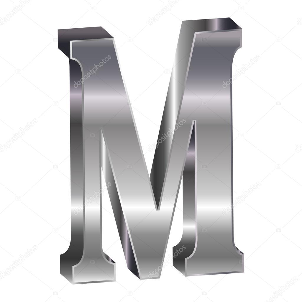 M Alphabet In 3d 3D Silver Alphabet M   Vector