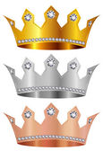 Gold silver copper crown crown — Stock Vector