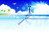 Summer sea Ochugen Noshi gift wrapping paper — Stock Vector
