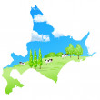 Royalty-Free Stock Vector Image: Cattle ranch map Hokkaido