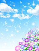 Morning glory sky background soap bubble — Stock Vector