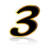 Złoto czarny numer 3 — Wektor stockowy
