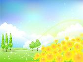 Sunflower flower background landscape — Stock Vector