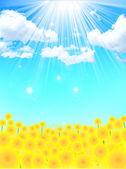 Paysage de fond de fleur de tournesol — Vecteur