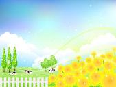 Solros blomma bakgrund boskapsranch — Stockvektor