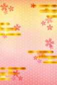 Background cherry pattern New Year's card — 图库矢量图片