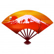 Mt Fuji fan red sunrise — Stock Vector