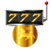 2014 New Year s card slot Horse — Stock Vector