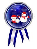 Christmas Santa snowman frame — Stock Vector