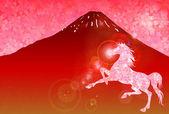 Häst fuji s nyårskort — Stockvektor