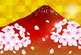 Fuji cherry tree greeting cards background — Stockvector