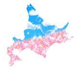 Hokkaido cherry tree map — Stock Vector