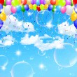 Stock Vector: Balloon sky background