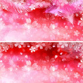 Feather background cherry — Vector de stock