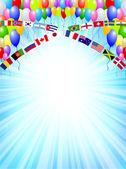 Balloon national flag background — Stock Vector