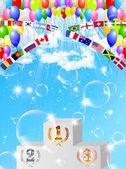 Balloon podium background — Stock Vector