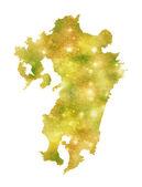 Kyushu Japan map — Stock Vector