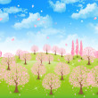 Stock Vector: Tree sky background of cherry