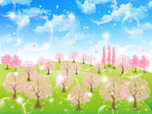 Tree sky background of cherry — Stockvektor