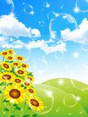 Sunflower landscape background — Stok Vektör