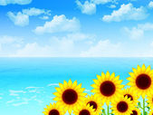 Sunflower landscape background — Stockvektor