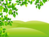 Fresh green leaf landscape — Stock Vector