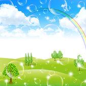 Rainbow hemel landschap — Stockvector